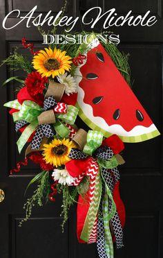 Watermelon Spring/Summer Wreath by DesignsAshleyNichole on Etsy