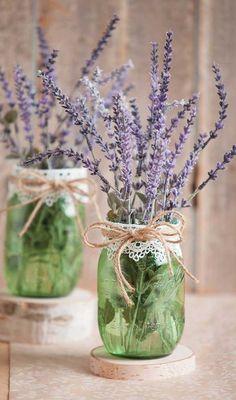 Lavender Wedding Centerpieces, Wedding Vases, Outdoor Wedding Decorations, Rustic Wedding Centerpieces, Diy Centerpieces, Floral Wedding, Floral Decorations, Wedding Floral Arrangements, Lavender Wedding Theme