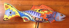 Hand painted Santa Fe Fish by Katy Bratun. Wood fish shape with acrylic painting. I have a fondness for fishes.  :-)  Love to draw them. http://www.katybratun.com