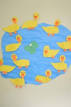 Squish Preschool Ideas: April --Showers Ducks Such April Preschool, Preschool Garden, Preschool Arts And Crafts, Preschool Activities, Crafts For Kids, Work Activities, Duck Crafts, Farm Crafts, Spring Projects
