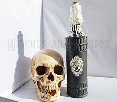 Halloween Witch Kitchen Potion Bottle Decoration Female Skull Cameo Black w/ White Wax drippings, Cork top, Twine neck Halloween Potion Bottles, Metal Skull, Kitchen Witch, Black Accents, Glass Bottles, Twine, Wax, Things To Sell, Image
