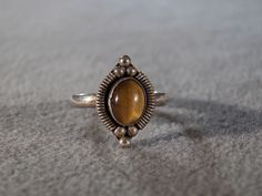 Sterling Silver Tiger Eye Ring with Amber Colored Stone, size 6