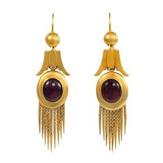 Antique Garnet Gold Earrings, A pair of antique gold and cabochon garnet earrings with bootlace fringe, in 18k.  circa 1870. 1stdibs.com