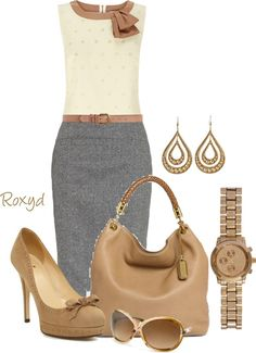 """Office Wear"" Gray Skirts cute #fashionforwomen #sasssjane #GraySkirts #Gray #Skirts #topmode www.2dayslook.com"