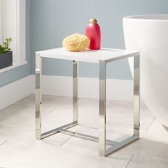 $268.00 - Resin - Stainless Steel - Paley+Resin+Bath+Stool+-+White+Gloss+Finish+with+Stainless+Steel+Legs