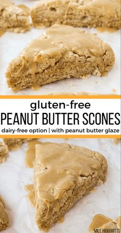 These Peanut Butter Scones are a fun gluten-free breakfast for the weekends. Soft and biscuit-like, these scones use Greek yogurt to make them perfectly tender. Only cup of sugar in the scones themselves - and you can use coconut oil and coconut yogurt Cake Vegan, Vegan Desserts, Mini Desserts, Easy Desserts, Recipes With Vegan Yogurt, Baking With Yogurt, Gluten Free Sweets, Gluten Free Cooking, Gluten Free Breads