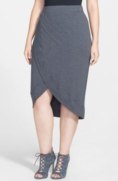 Free shipping and returns on City Chic 'Cool' Faux Wrap Skirt (Plus Size) at Nordstrom.com. A graceful, asymmetrical tulip hem distinguishes a flattering cotton-jersey skirt cut for a straight silhouette with effortless pull-on styling.