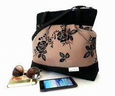 Black and beige-brown shoulder-bag with black roses, Frech style bag, Women's bag, Boho bag, Everyday handbag, Birthday gifts, Easter gifts
