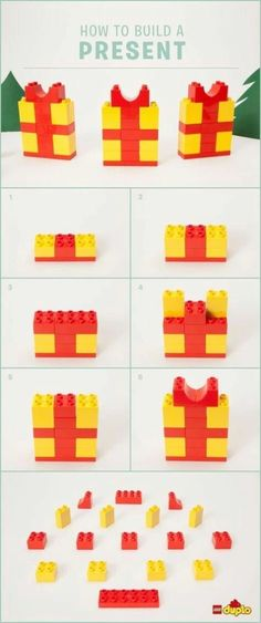 Find out how to build a cute LEGO DUPLO present that will look amazing under the tree, or as decoration on the dinner table! Lego Duplo Sets, Lego Duplo Animals, Lego Presents, Lego Christmas Presents, Lego Gifts, Christmas Gifts, Deco Lego, Lego Ornaments, Lego Therapy