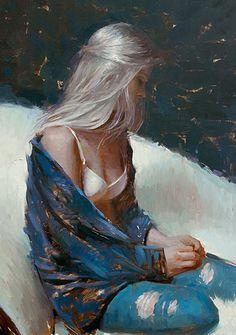 """Platinum Blond"" - Suchitra Bhosle (b. 1975), oil on canvas {figurative #impressionist art female seated woman profile portrait painting #loveart} suchitrabhosle.com"