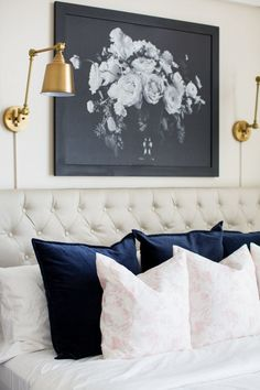 moody art over the bed in this master bedroom | Design: Sincerely Sara D