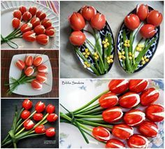 Making flowers out of cherry tomatoes diy tulips recipe recipes diy crafts do it yourself party favors tomato cherry tomato floral ideas