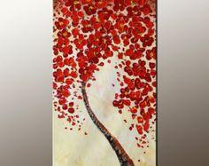 Pintura al óleo flores árbol pintura lienzo abstracto por Topart007