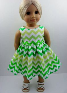 Green and White Chevron Doll Dress made for the American Girl Doll 0