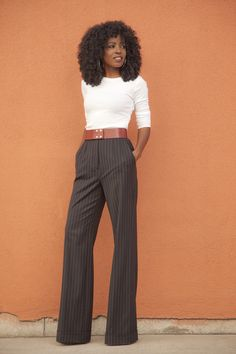 StylePantry - Long Sleeve Tee + Pinstriped Highwaist Wideleg Trousers