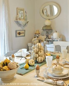Shabby Chic style tablescape - Fall Home Tour via Town and Country Living
