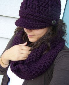 Crochet Hat and Scarf Set- Plum  LOVE THIS!!