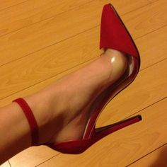Shoes - Pointed Red Heels with Ankle Straps 2