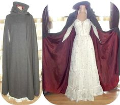 Vintage 70s Dramatic Full Sweep Wool Hooded Cloak Steampunk Medieval Cape Coat Tassel LOTR LARP.