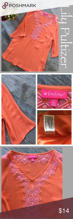 Lily Pulitzer for Target boho tunic. Lily Pulitzer for Target Boho Tunic. Orange and pink, size small, 3/4 sleeve bell sleeves and side slits. Preowned. Lilly Pulitzer for Target Tops Tunics