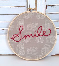 made to order . smile embroidery hoop art . hand embroidered . retro . vintage inspired . camera fabric . smile on Etsy, $27.58 CAD
