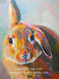 "Painting a Dog a Day - painted pet portraits by Kimberly Kelly Santini - this is ""Flopsy"""