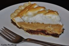 This peanut butter pie, topped with meringue and with a chocolate crust, looks just absolutely delish!