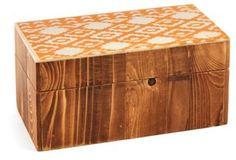 "6"" Decorative Diamond-Print Box, Brown"