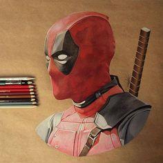 Deadpool pencil illustration by Godot_23