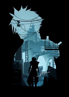 Cloud Strife from Final Fantasy VII illustration by whylabs. Yuna Final Fantasy, Final Fantasy Vii Remake, Artwork Final Fantasy, Final Fantasy Cloud, Fantasy Posters, Gothic Fantasy Art, Final Fantasy Characters, Medieval Fantasy, Fantasy Logo