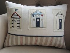 Beach Hut Cushion by PetitJute on Etsy, £22.50