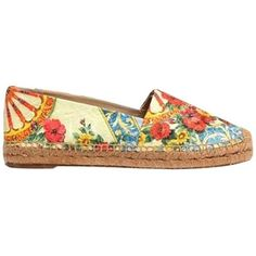 Pre-owned Dolce&gabbana Multi-floral Summer 2014 Cactus Wheel Flats (23.630 RUB) ❤ liked on Polyvore featuring shoes, floral shoes, leather flat shoes, floral flats, summer shoes and flat shoes