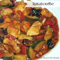 Ratatouille is made with eggplant, zucchini, onions, peppers in a tomato based sauce flavored with garlic, basil and oregano.