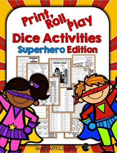 Superhero Math - no-prep, just print, add dice and go learning pack!