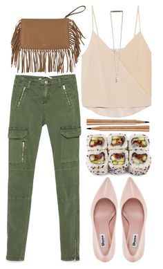 """Army + Pink"" by sophieelise97 ❤ liked on Polyvore featuring Zara, Chelsea Flower, Valentino, Dune and Bourjois"