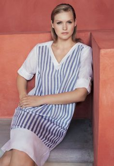 Marina Rinaldi SS14 techno linen dress with periwinkle blue and white stripes and adjustable sleeves.