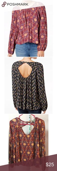 """Cut-Out Back Blouse Brand new with tag. Size medium. Rayon. Loose fit. Bust approx 42"""" length approx 23"""" arm Length approx 24"""" Tops Blouses"""