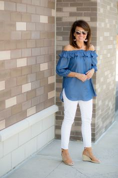 Chambray Off The Shoulder Top + White Jeans