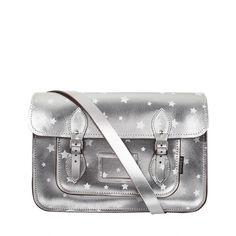 Zatchels Metallic Star Print 14.5in Satchel (480 BRL) ❤ liked on Polyvore featuring bags, handbags, satchel, women, leather satchel, leather satchel handbags, genuine leather purse, metallic silver purse and pocket purse