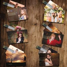 Custom USB Flash Drive Set- Credit Card Style  This would be a great way to give photography customers their photos!