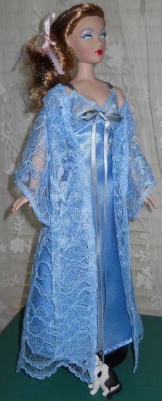 Handmade 15 1/2 Doll Blue Satin Peignoir set by AuntieLousCrafts, $18.50 - Pinned 8-14-2015.