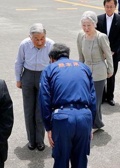 Imperial couple in Kumamoto to bolster morale of quake evacuees:The Asahi Shimbun Kumamoto, Japan News, Emperor, Japanese, Couples, Jackets, Fashion, Down Jackets, Moda