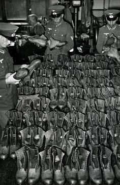 Quality check of new boots for the army at a logistics depot, 1940. Shortage of leather forced the German army to introduce shorter boots in place of the traditional tall army boot, which required almost double the amount of leather in comparison to the boots in the photo. Both short and tall boots proved themselves woefully inadequate on the Eastern Front.