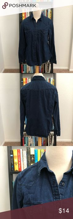 Dark CHAMBRAY GAP Button Up In great used condition. Looks great worn buttoned, or open over a tunic or dress. Feel free to make me an offer, and let me know if you have any questions! Sorry,  no trades. GAP Tops Button Down Shirts