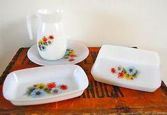 Lovely Vintage Floral Arcopal Butter Dish Plate Jug Pyrex Retro