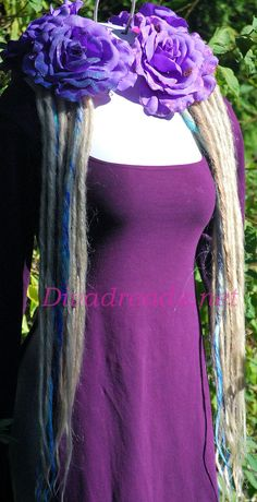 Blonde with hints of Blue Dread Lock falls wi by Diva Dreads