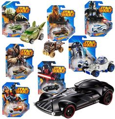 Hot Wheels Star Wars Complete set 7 of the Star Wars Hot Wheels cars Each 1:64 scale car is individually designed to retain the 'Force' of an iconic Star Wars character and combines the thrill and real racing excitement of Hot Wheels. Vehicles included are R2-D2, Yoda, Luke Skywalker, 501st Clone Trooper, Darth Vader, Chewbacca, Tusken Raider