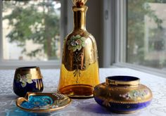 Bohemian Glass Decanter with Stopper - Amber Glass, Gold Gilded, Hand Painted Flowers