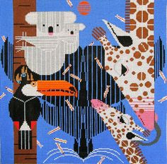 Charley Harper NeedlepointZoo Babies (In Stock)