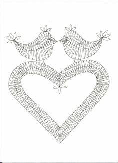 Oiseaux-Coeur Scrap Quilt Patterns, Bobbin Lace Patterns, Bobbin Lacemaking, Lace Heart, Lace Jewelry, Needle Lace, Lace Making, Heart Patterns, Irish Crochet